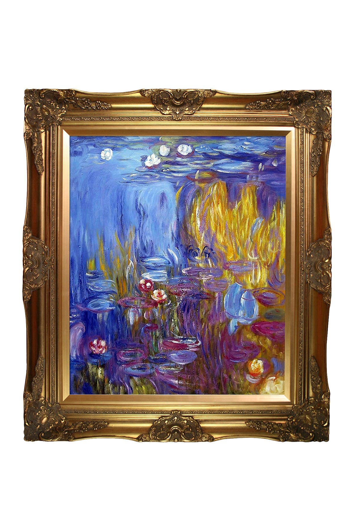 Image of Overstock Art Water Lilies, 1917 by Claude Monet Framed Hand Painted Oil Reproduction