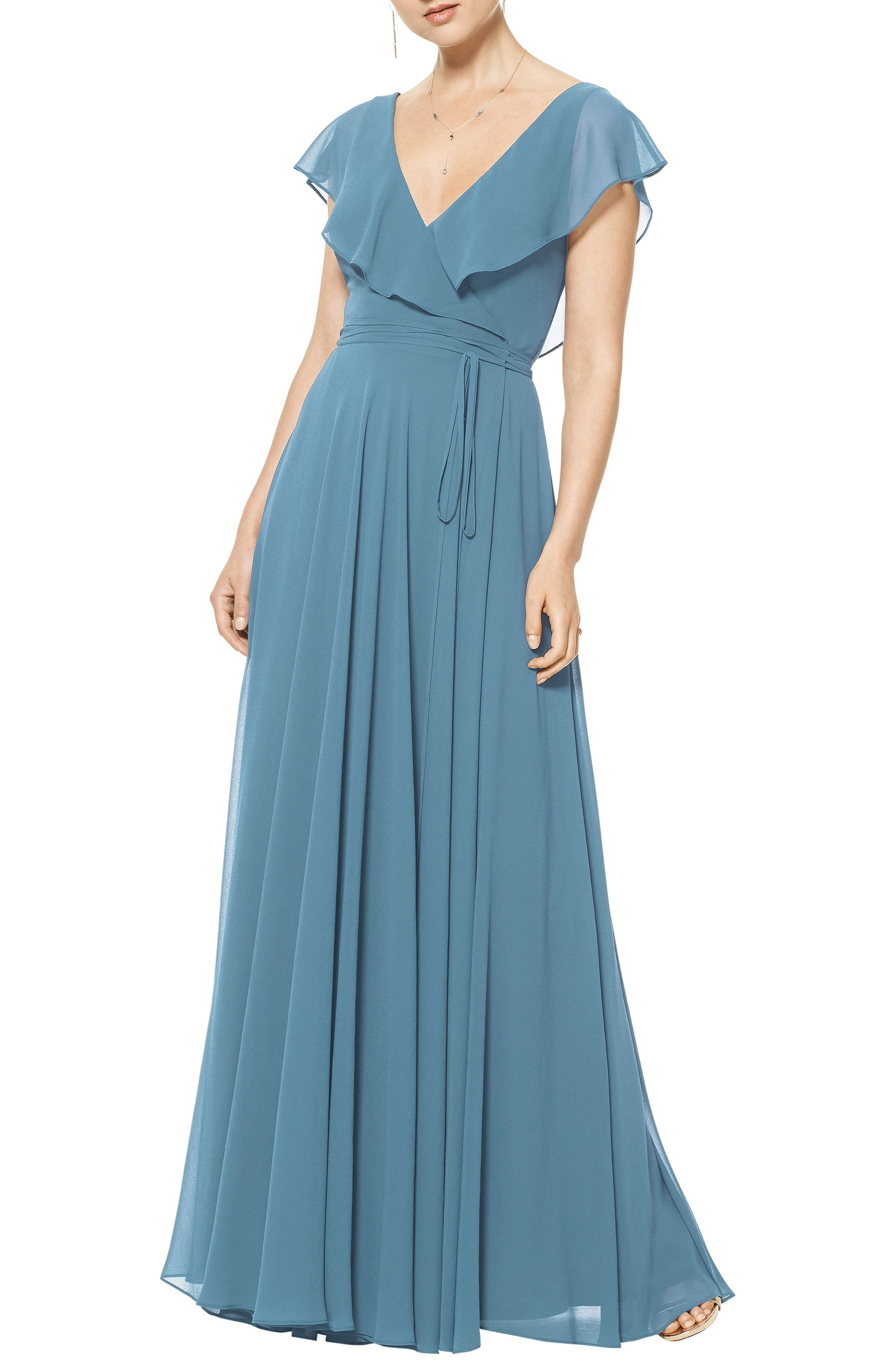 Ruffle V-Neck Wrap Gown