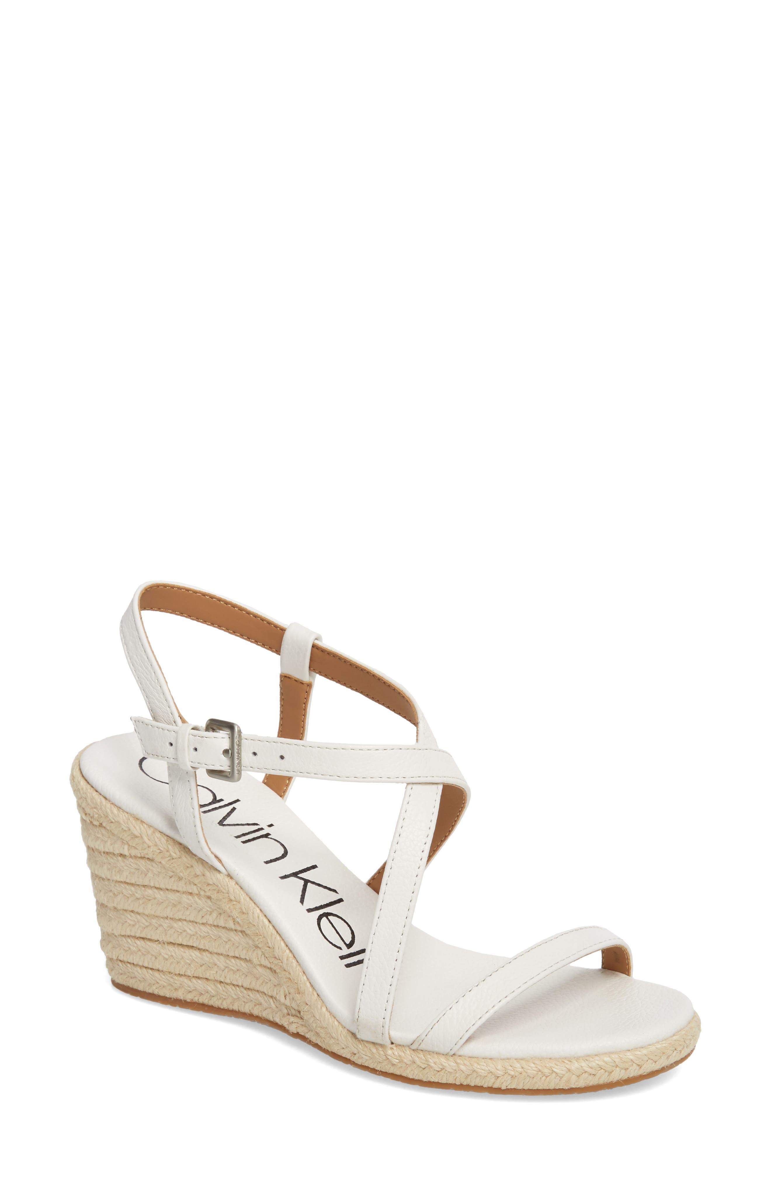 Calvin Klein Bellemine Espadrille Wedge Sandal, White
