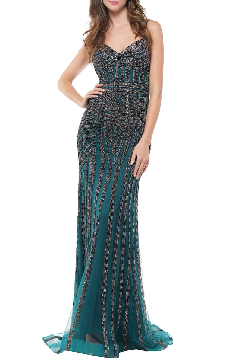 COLORS DRESS Beaded Mesh Gown, Main, color, 300