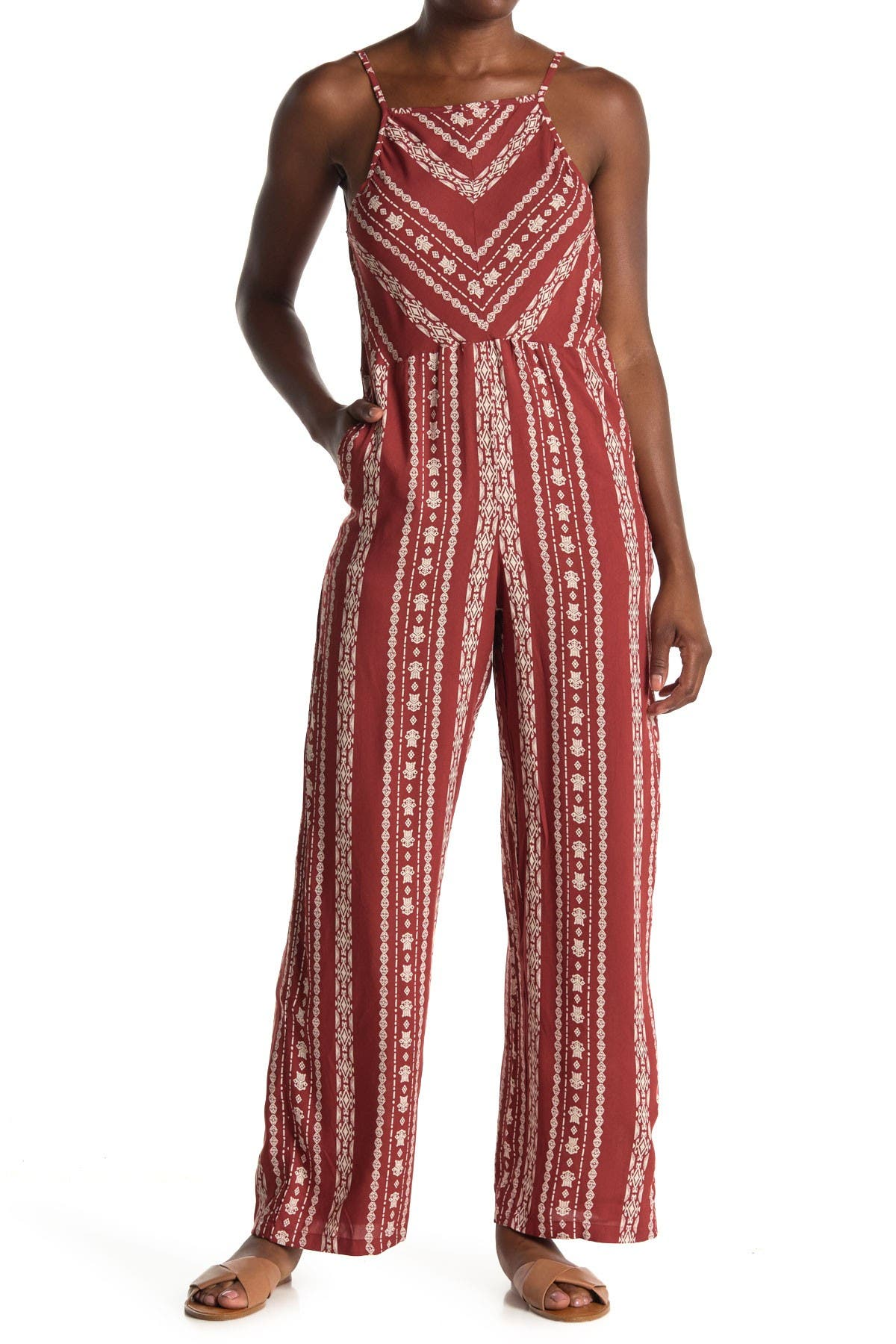 Image of Angie Geo Print Low V-Back Jumpsuit