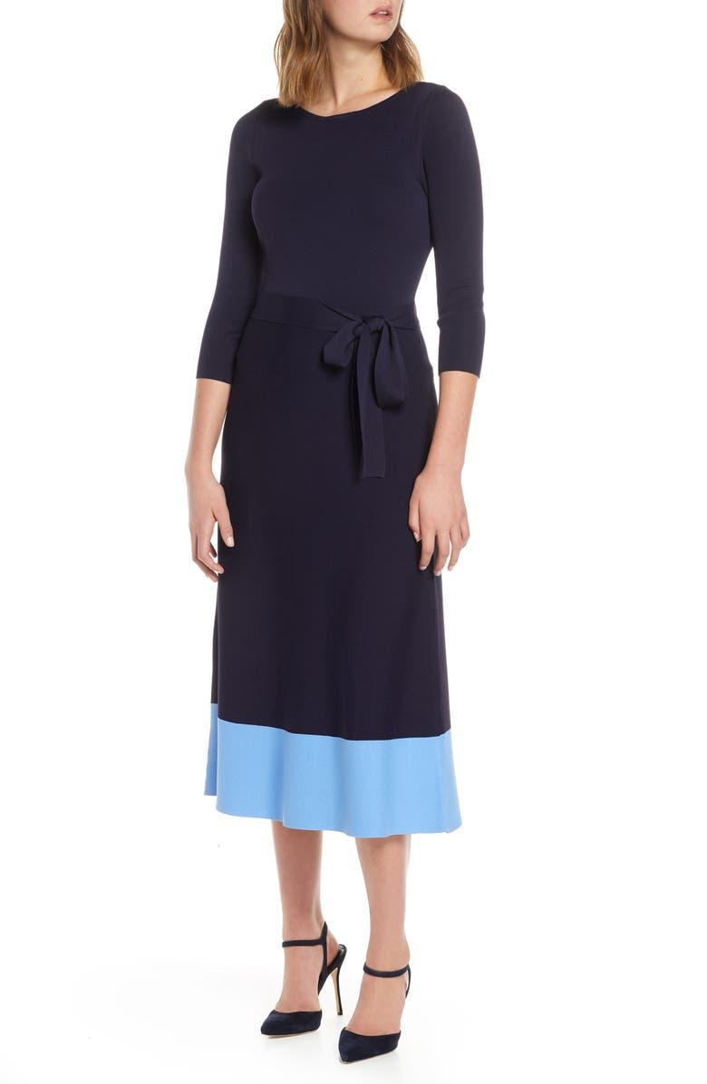 ELIZA J Colorblock Sweater Dress, Main, color, NAVY