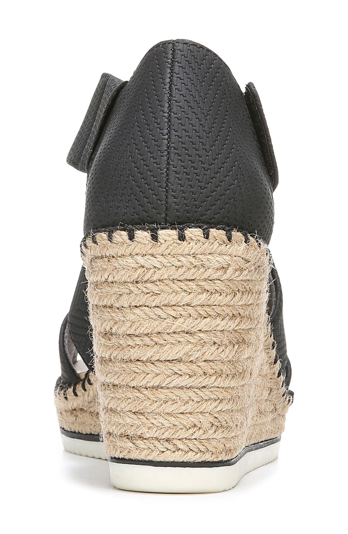 ,                             Vacay Wedge Sandal,                             Alternate thumbnail 7, color,                             BLACK FAUX LEATHER