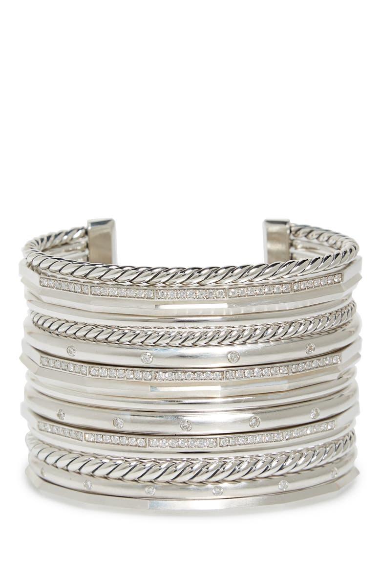 DAVID YURMAN Stax Wide Cuff Bracelet with Diamonds, 54mm, Main, color, SILVER