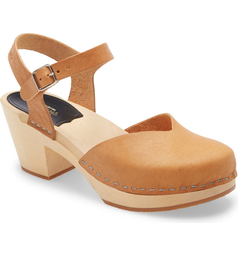 SWEDISH HASBEENS Clog Sandal, Main, color, NATURE LEATHER