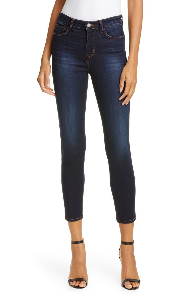 L'AGENCE Avery High Waist Side Slit Skinny Jeans, Main, color, DEEP SPACE