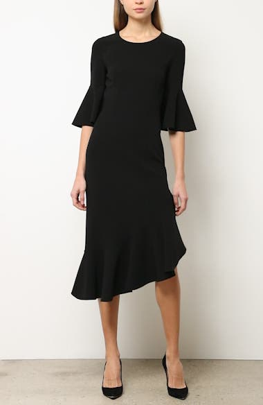 Asymmetrical Bell Sleeve Sheath Dress, video thumbnail