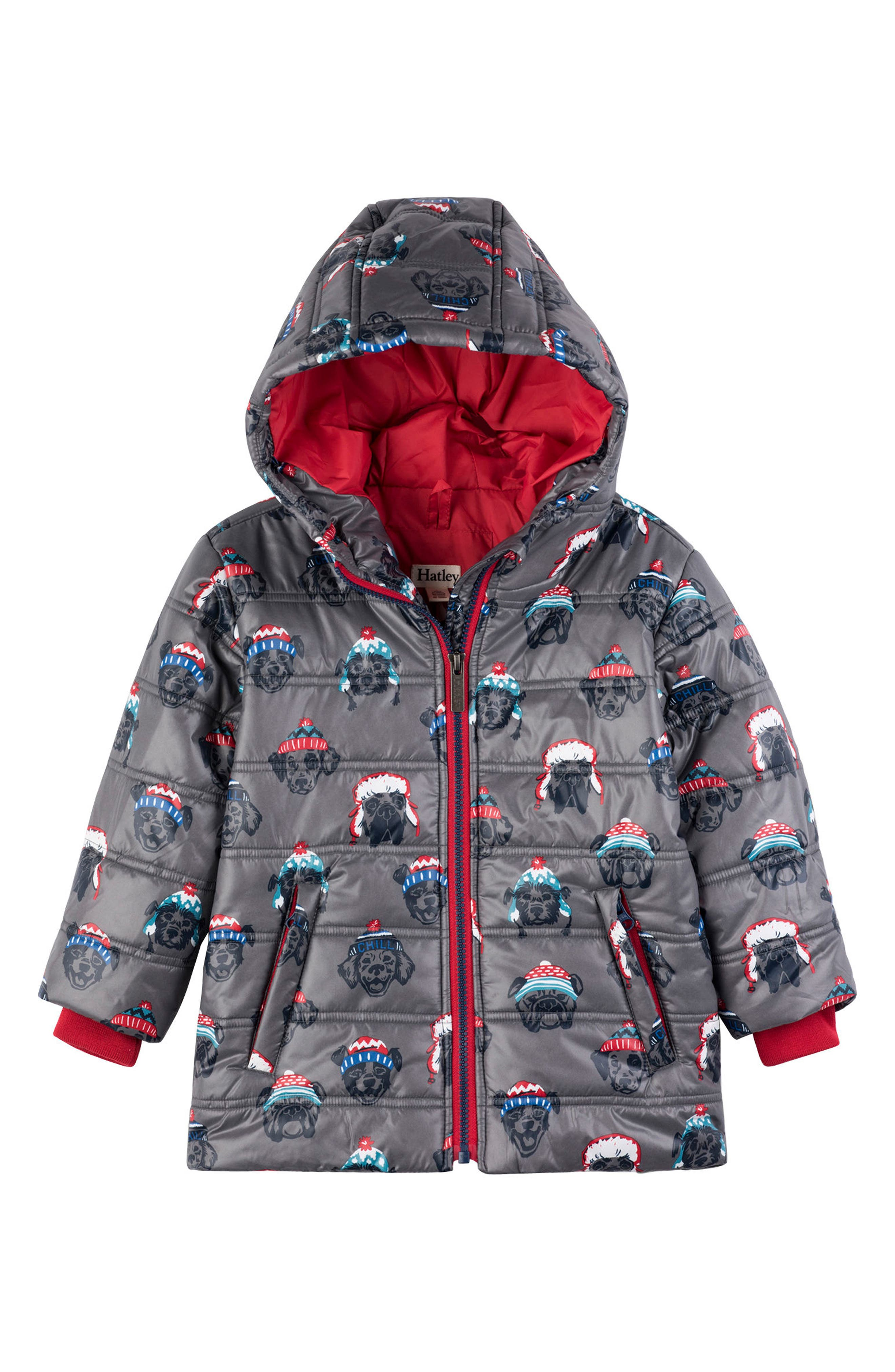 Pups Hooded Puffer Jacket, Main, color, GREY