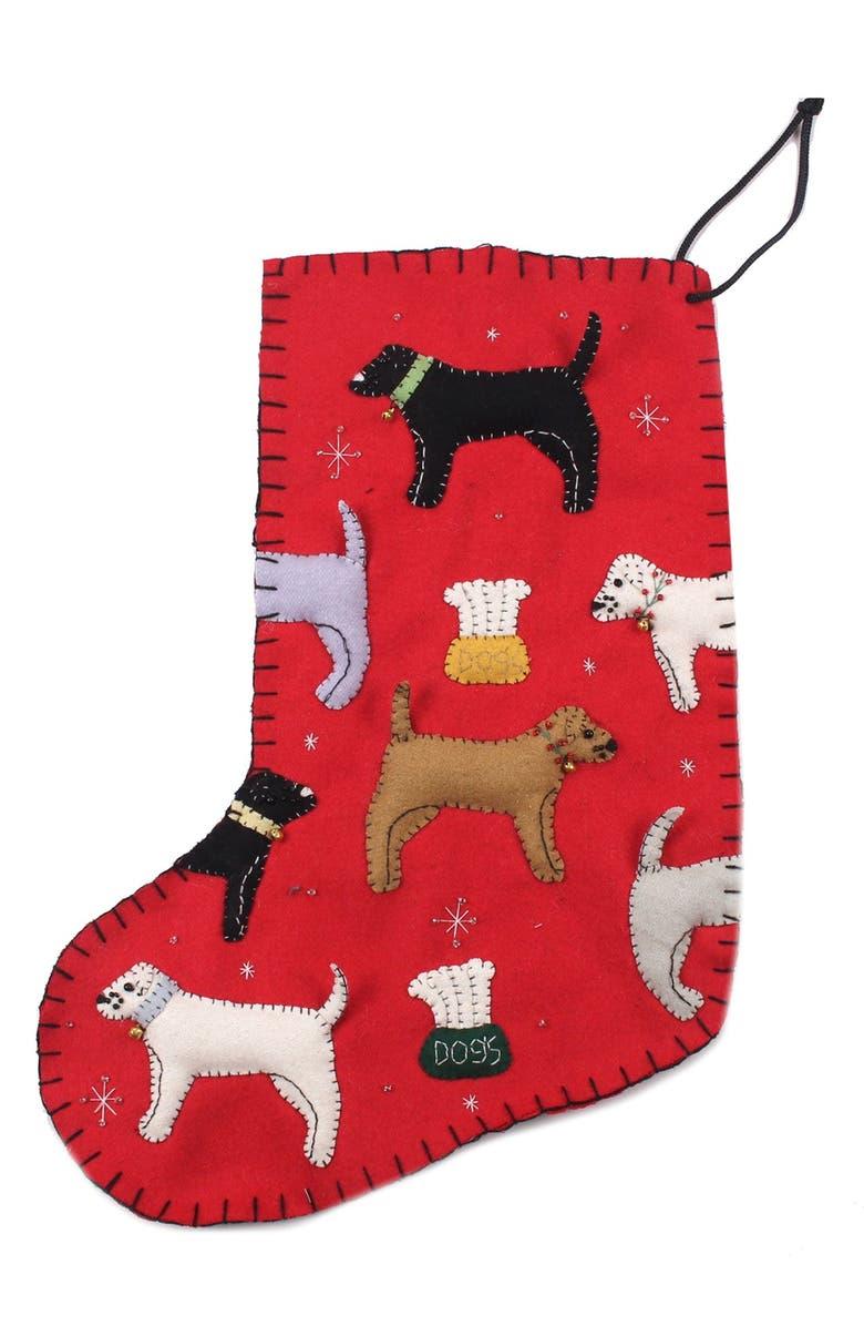 NEW WORLD ARTS Dog Christmas Stocking, Main, color, RED