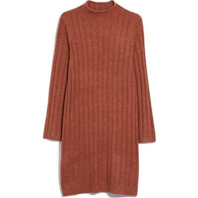 Madewell Ribbed Mock Neck Sweater Dress, Orange