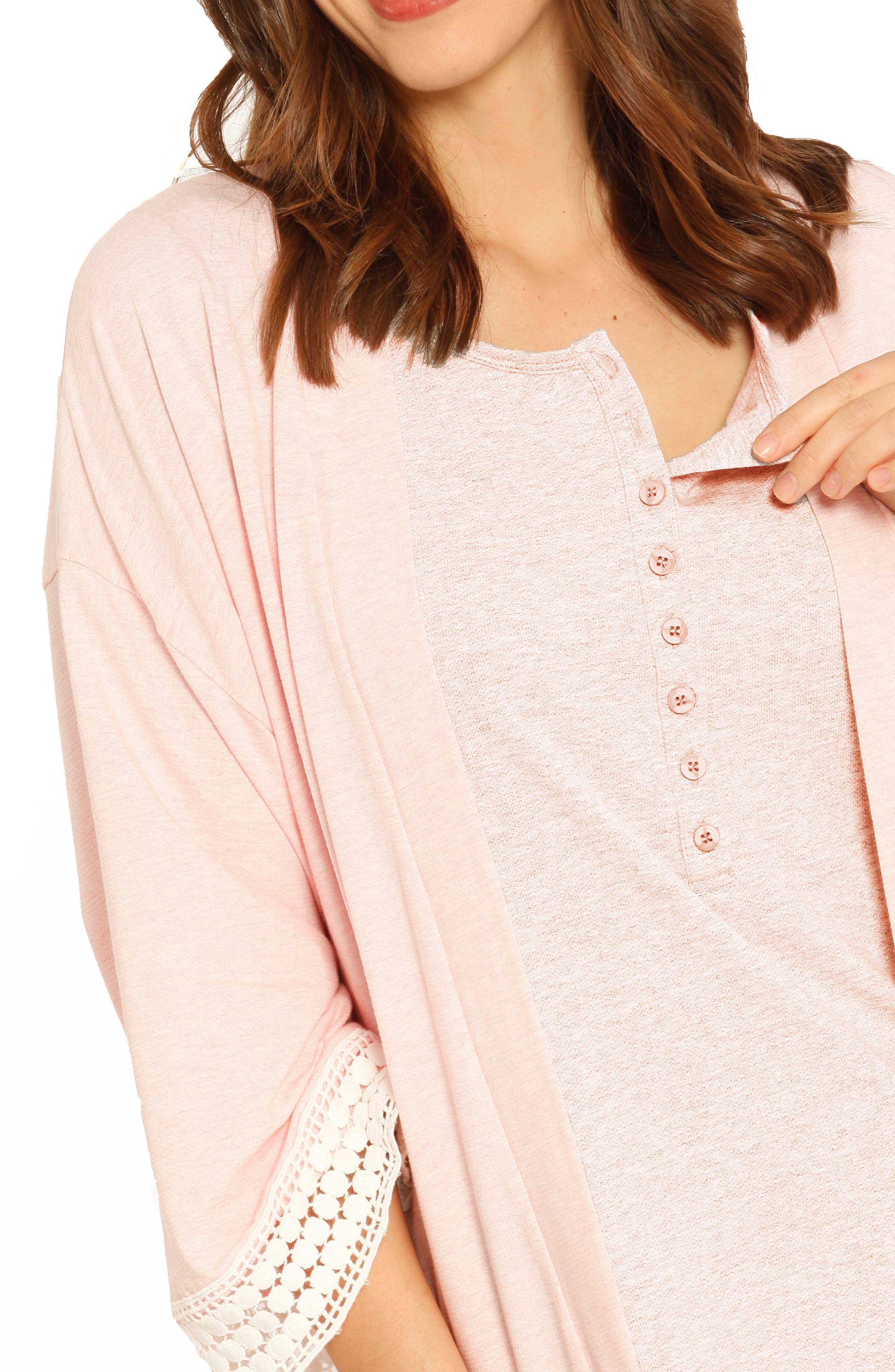 ,                             Ruby Joy Maternity/Nursing Sleep Shirt, Robe & Baby Blanket Pouch Set,                             Alternate thumbnail 3, color,                             PINK