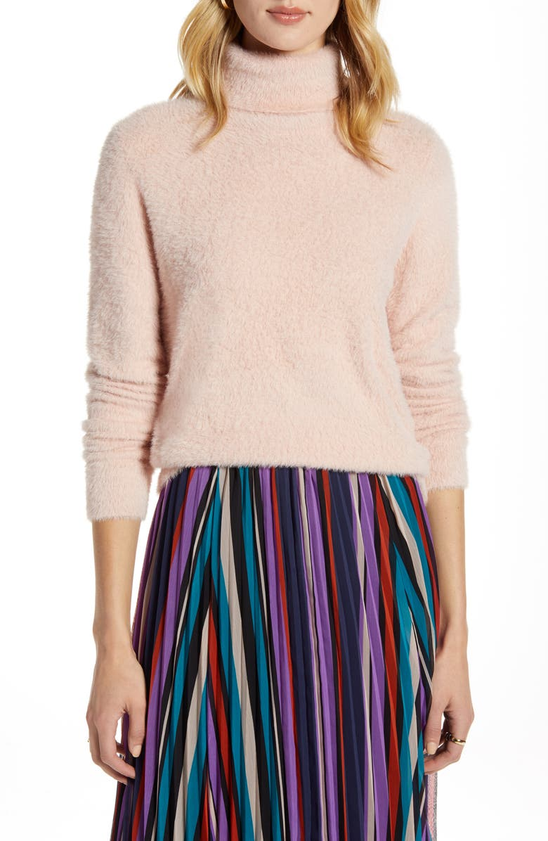 HALOGEN<SUP>®</SUP> Fuzzy Turtleneck Pullover, Main, color, PINK SMOKE