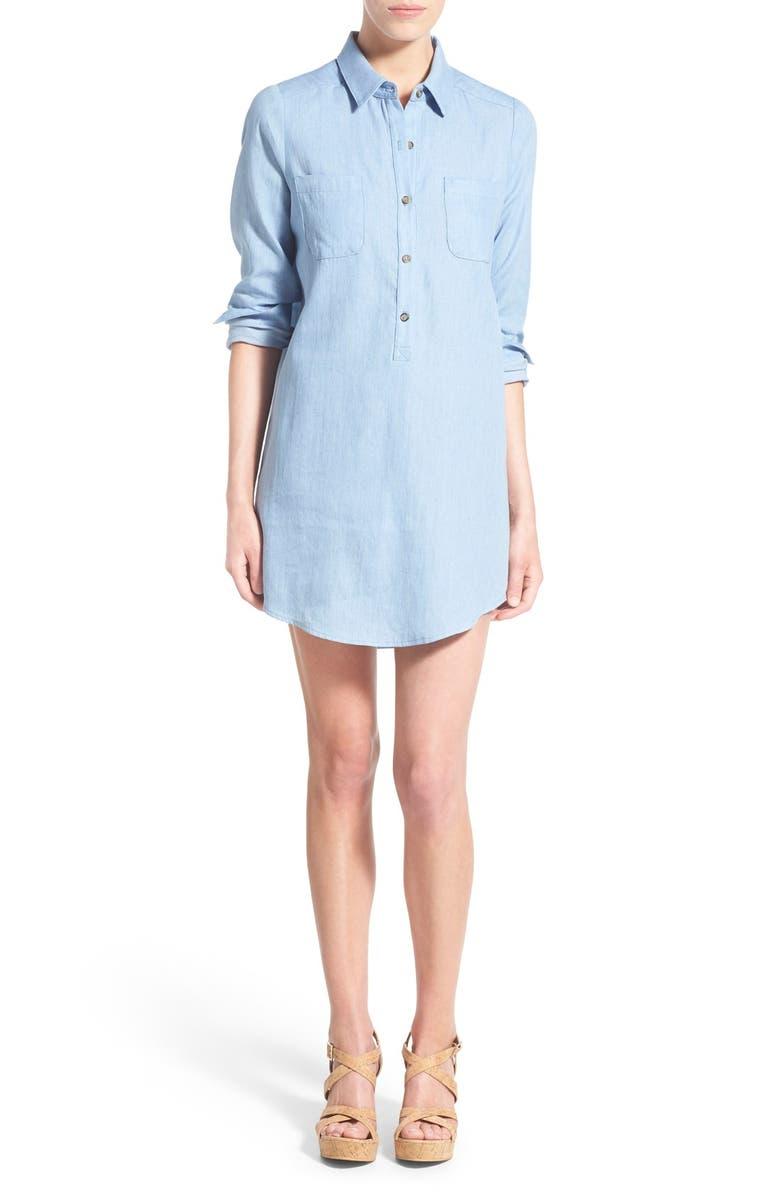 SOCIALITE Cotton Chambray Shirtdress, Main, color, 439