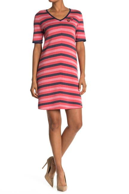Image of Ted Baker London Stripe Contrast Trim Dress