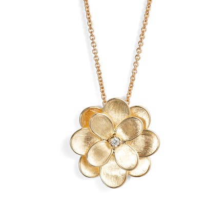 Marco Bicego Medium Petali Diamond Floral Pendant Necklace
