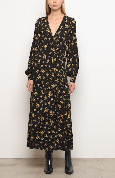 Floral Print Crepe Long Sleeve Midi Dress, video thumbnail