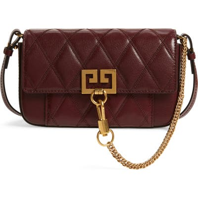 Givenchy Mini Pocket Quilted Convertible Leather Bag - Burgundy