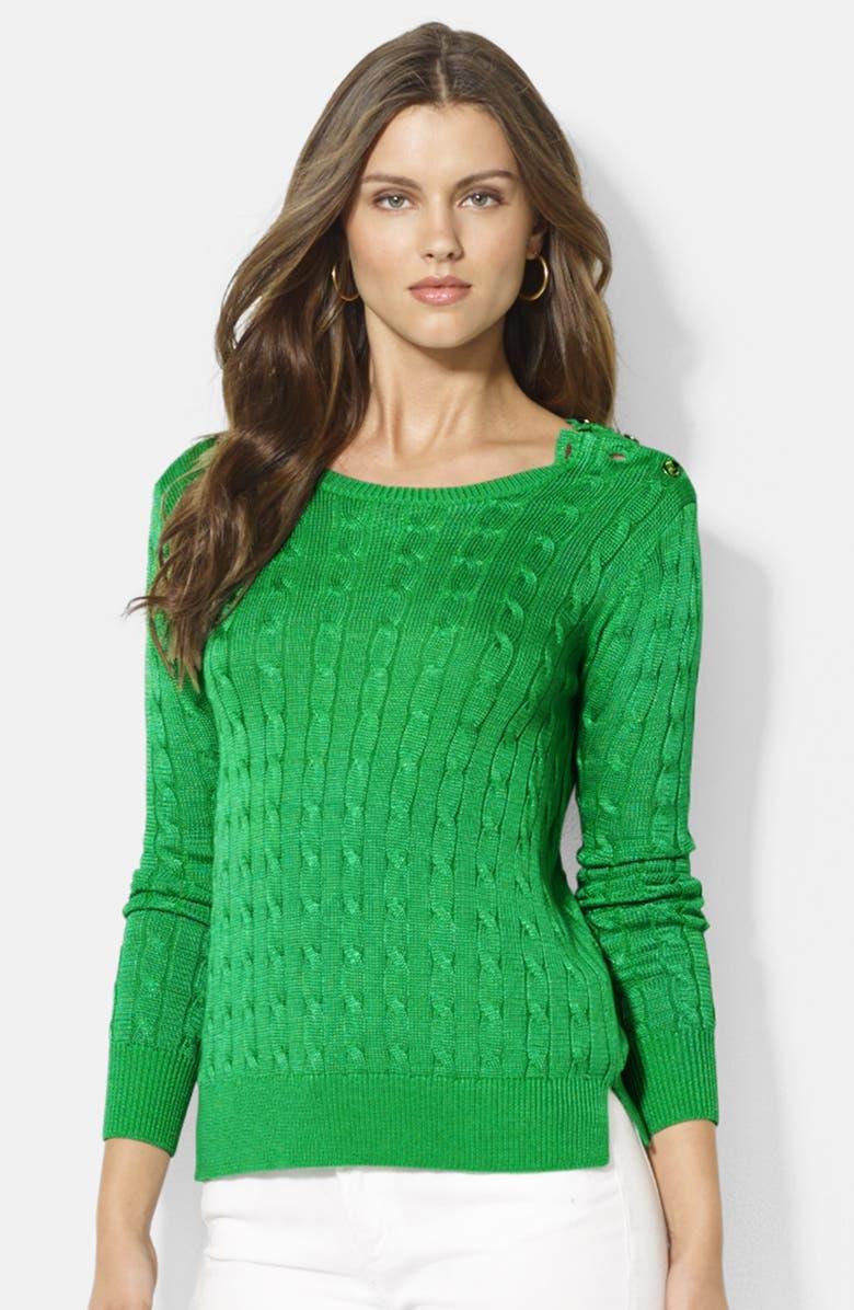 LAUREN RALPH LAUREN Button Shoulder Cable Knit Sweater, Main, color, 301
