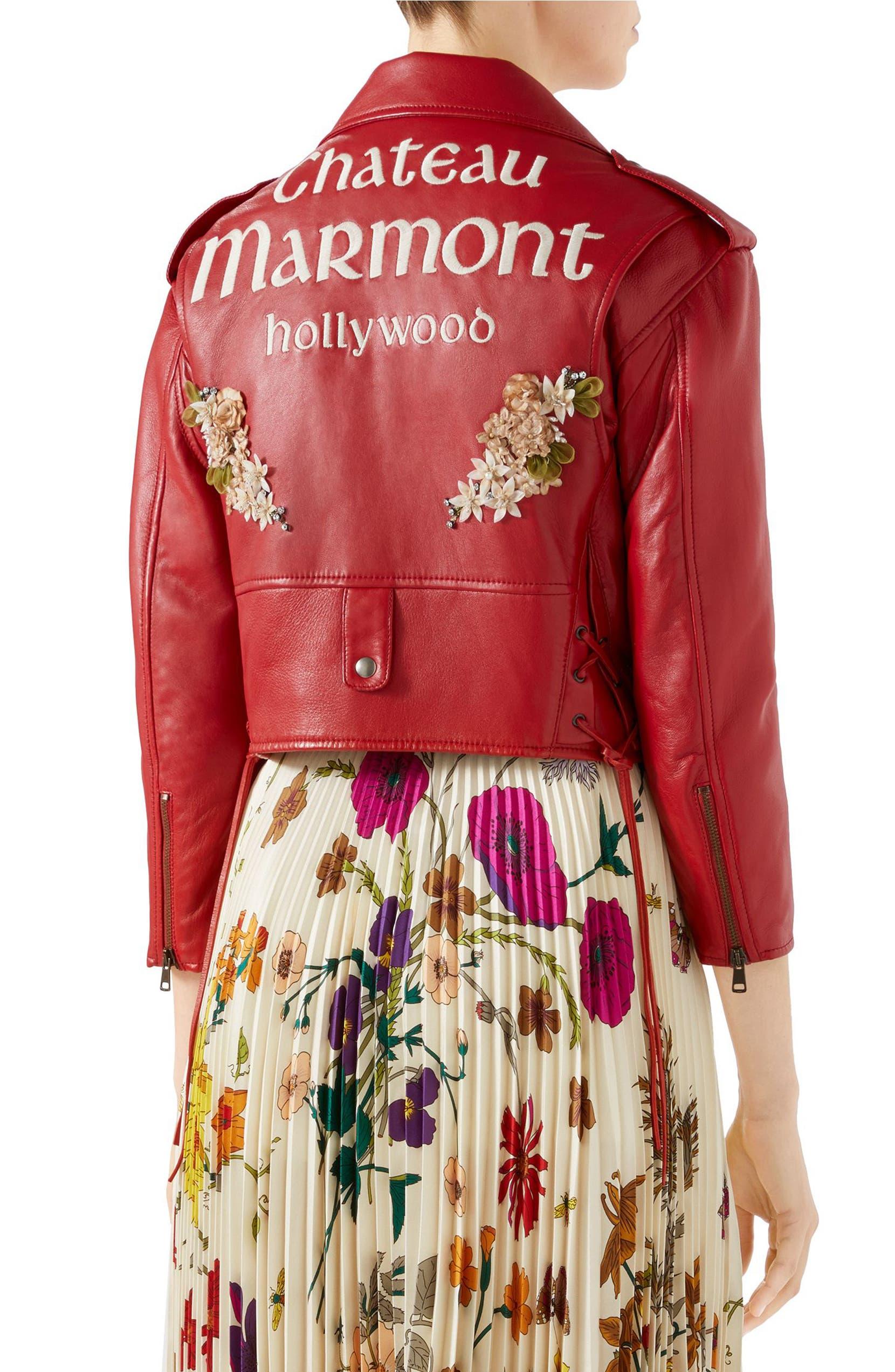 418ea3d32c41 Gucci Chateau Marmont Embellished Leather Biker Jacket | Nordstrom