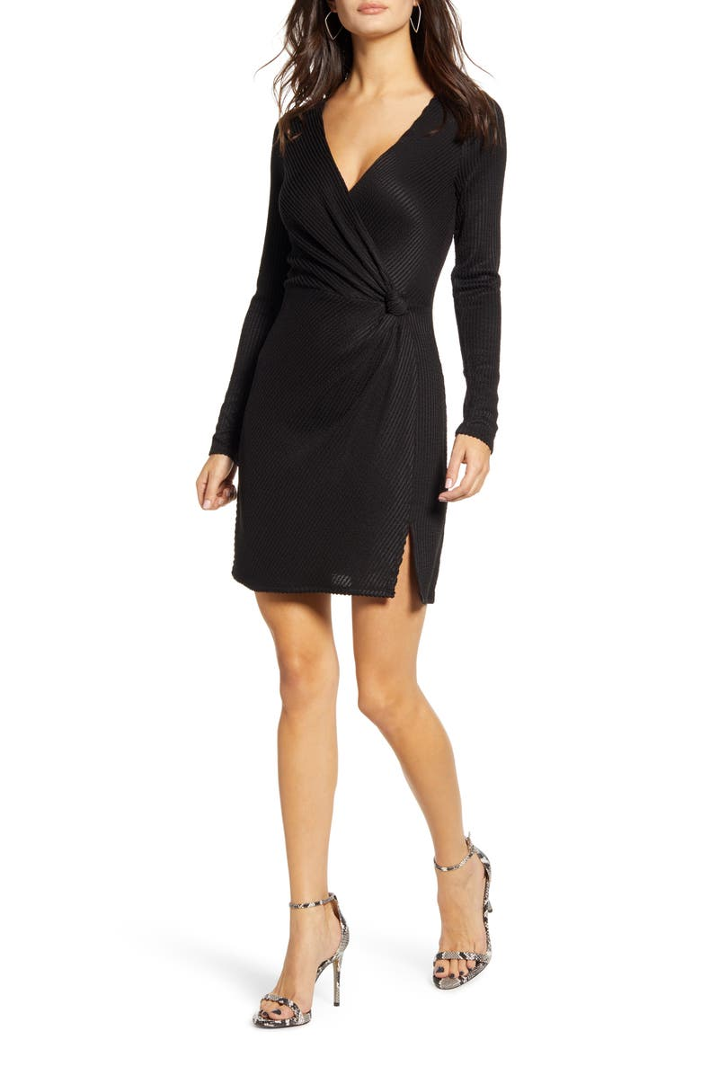 ROW A Side Knot Ribbed Long Sleeve Minidress, Main, color, BLACK