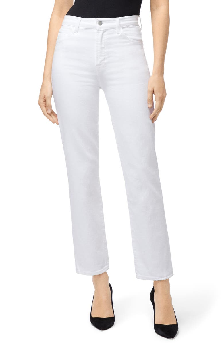 J BRAND Jules High Waist Ankle Straight Leg Jeans, Main, color, WHITE