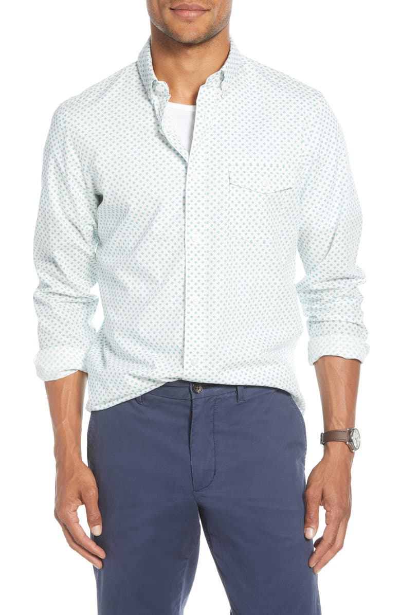 1901 Trim Fit Button-Down Shirt, Main, color, IVORY TEAL NEAT TILES