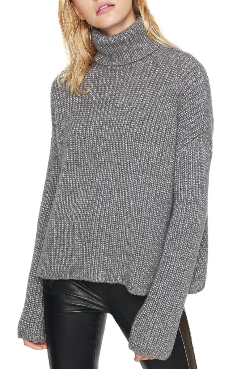 PAM & GELA Metallic Marled Turtleneck Sweater, Main, color, GREY