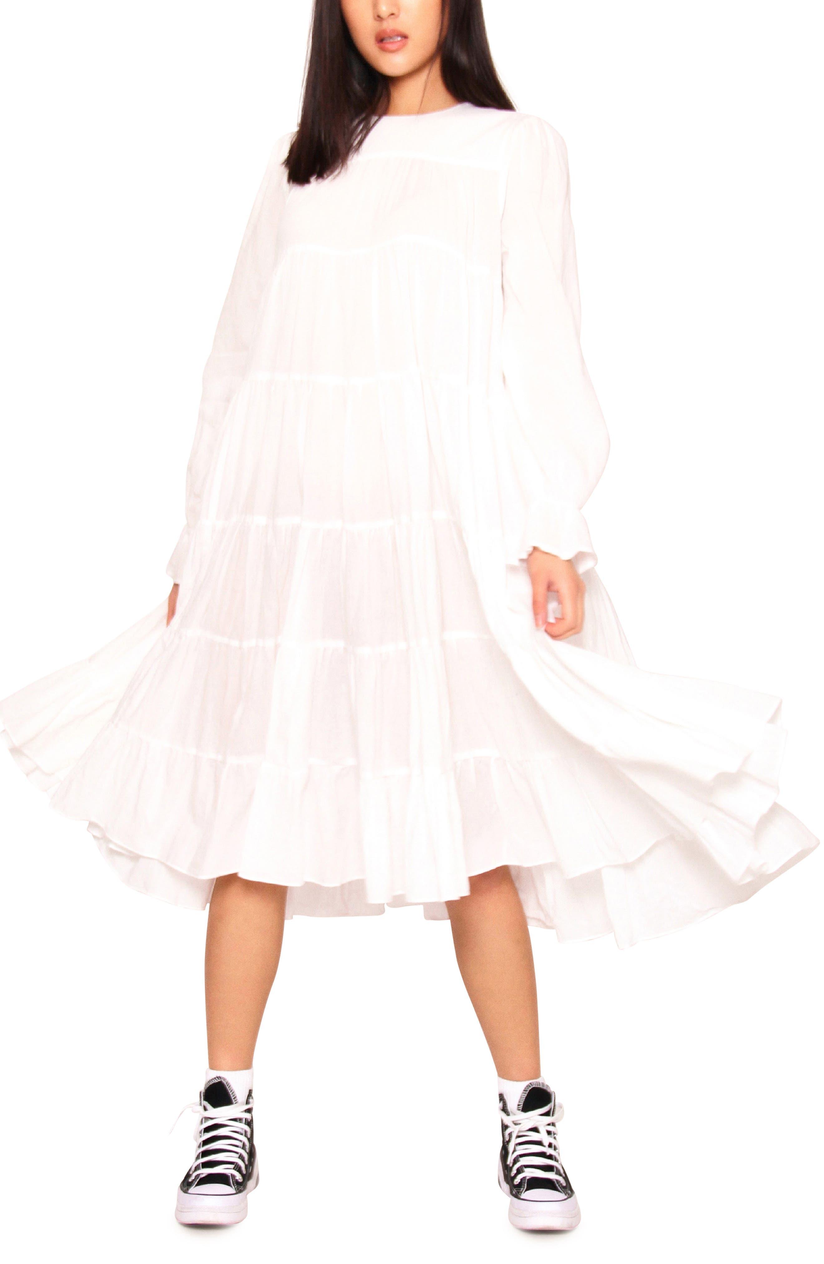 Ernie Long Sleeve Tiered Swing Dress