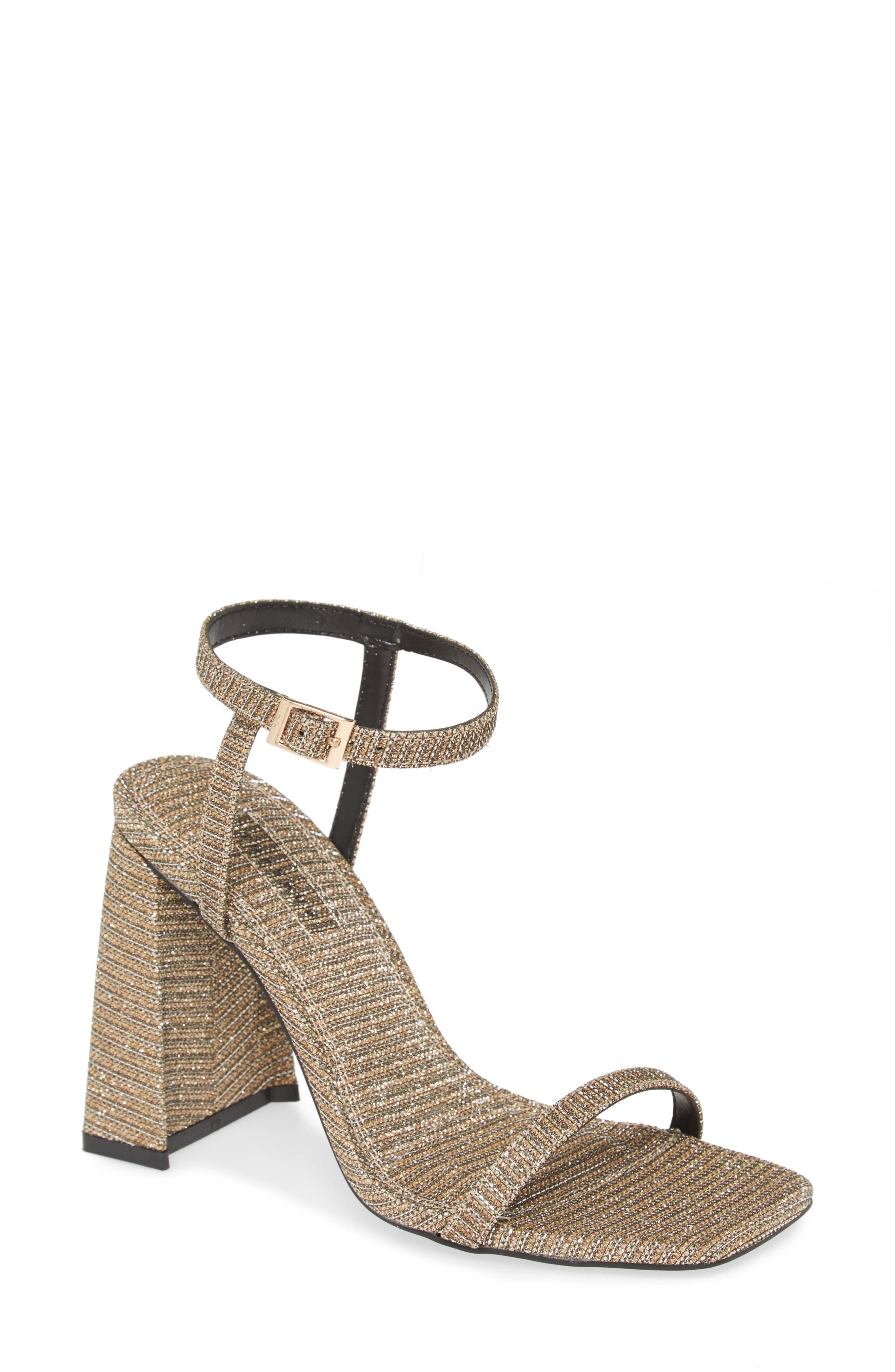 A slender ankle strap provides a perfect counterbalance for the bold, flared heel of this retro-chic sandal. Style Name: Topshop Rocco Sandal (Women). Style Number: 5984459 1. Available in stores.