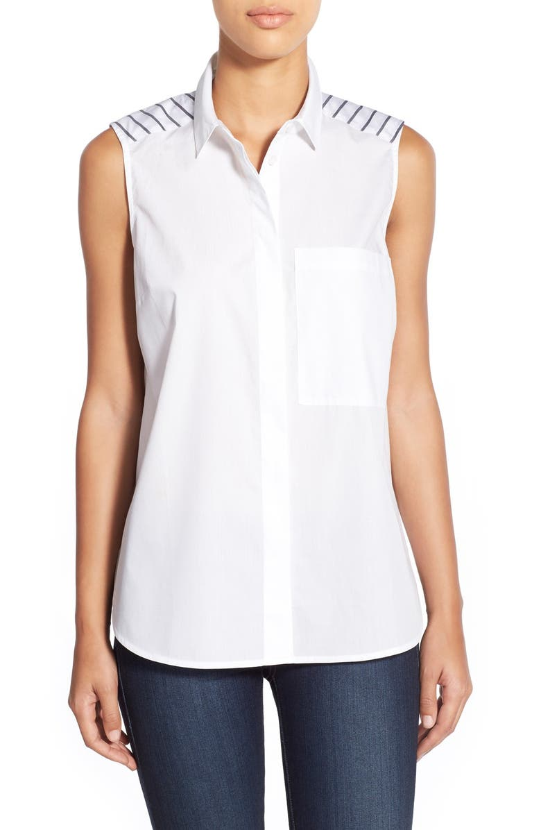 HALOGEN<SUP>®</SUP> Sleeveless Colorblock Button Back Poplin Top, Main, color, 100