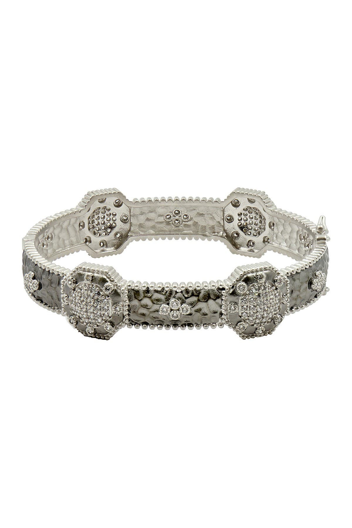Image of Freida Rothman Two-Tone Rhodium Plated Sterling Silver Pave CZ Deco Hinged Bangle