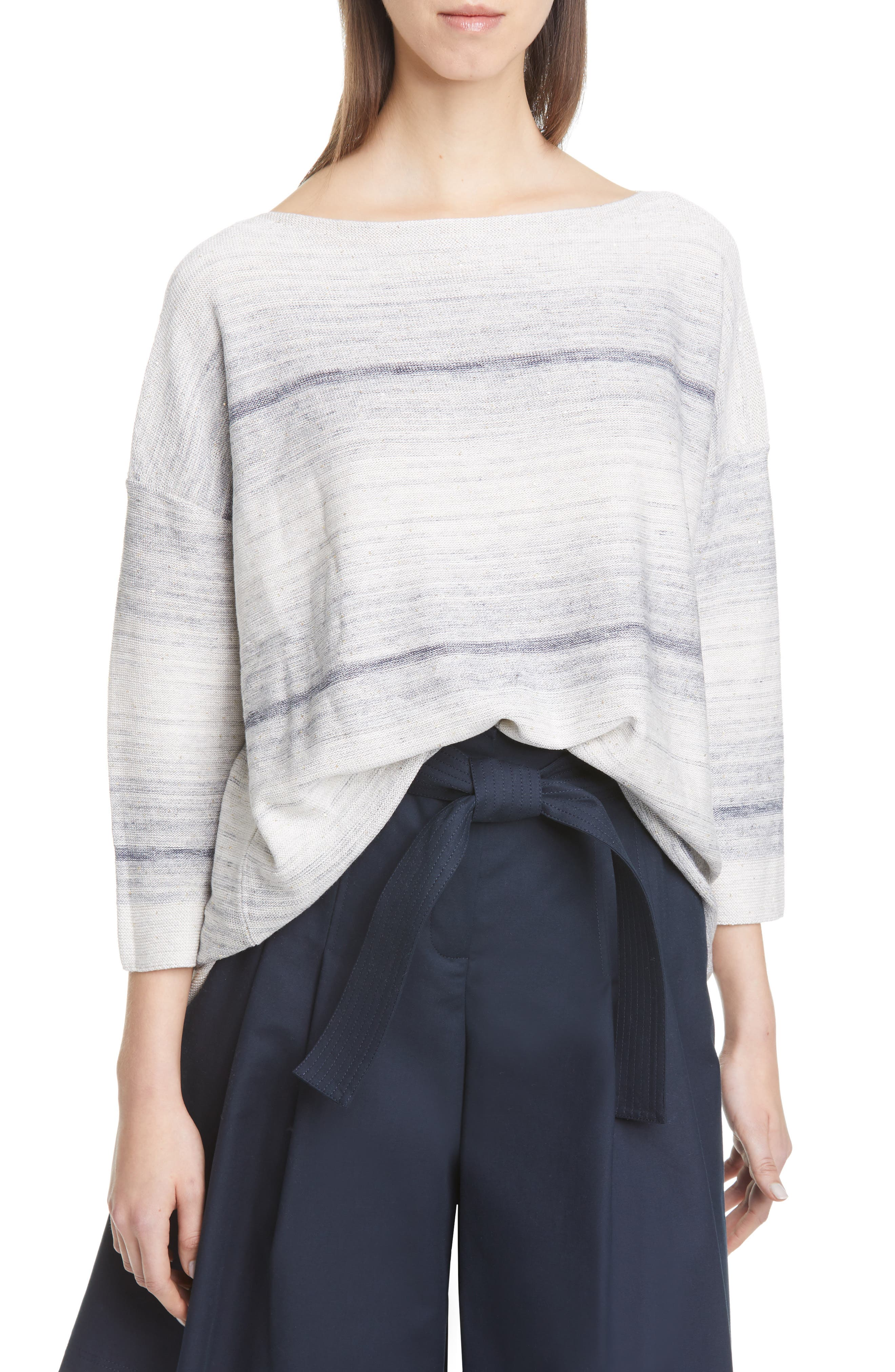 Image of Lafayette 148 New York OMBRE BATEAU NECK PULLOVER