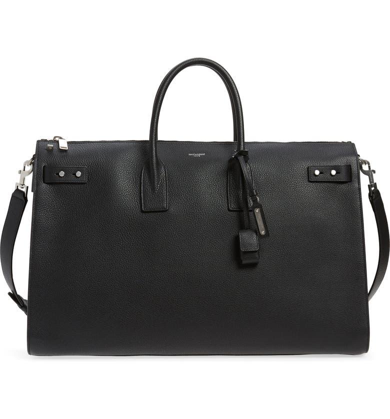 SAINT LAURENT Sac de Jour - 48 Hour Leather Duffel Bag, Main, color, BLACK