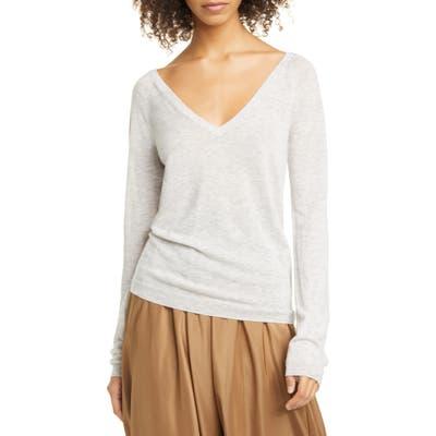 Vince Wool & Cashmere Blend V-Neck Sweater, Grey