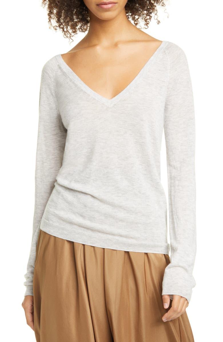 VINCE Wool & Cashmere Blend V-Neck Sweater, Main, color, HEATHER GREY