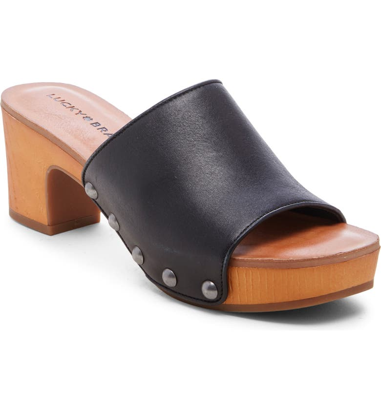 LUCKY BRAND Fineena Clog Slide Sandal, Main, color, BLACK LEATHER