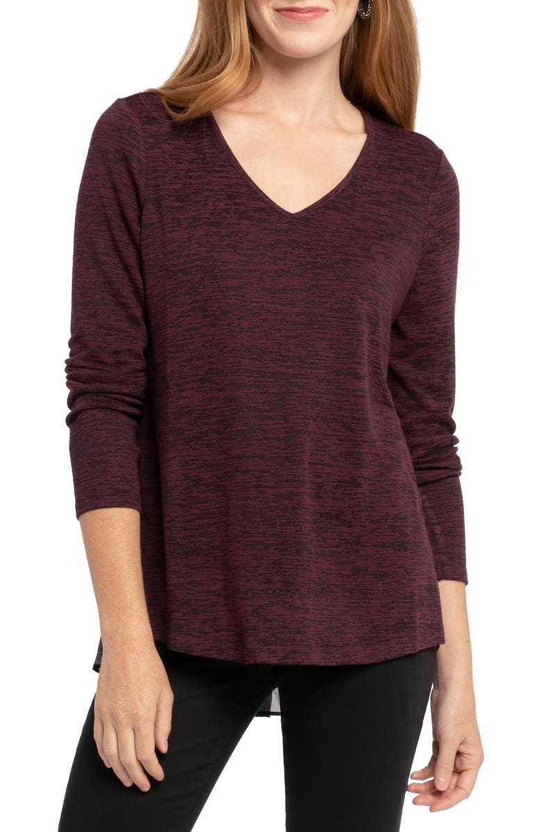 NIC+ZOE Party in the Back V-Neck Top, Main, color, WINTERBERRY