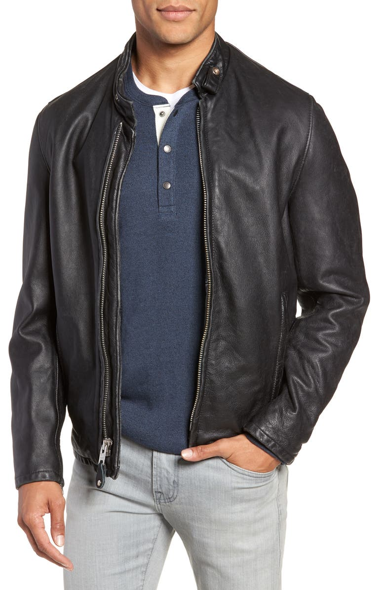 SCHOTT NYC Café Racer Hand Vintaged Cowhide Leather Jacket, Main, color, BLACK