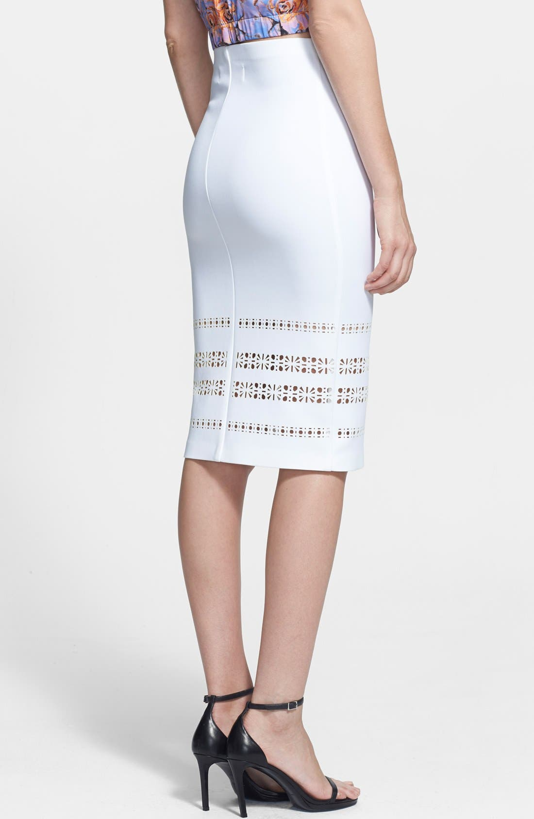 ,                             Laser Cut Neoprene Pencil Skirt,                             Alternate thumbnail 3, color,                             100
