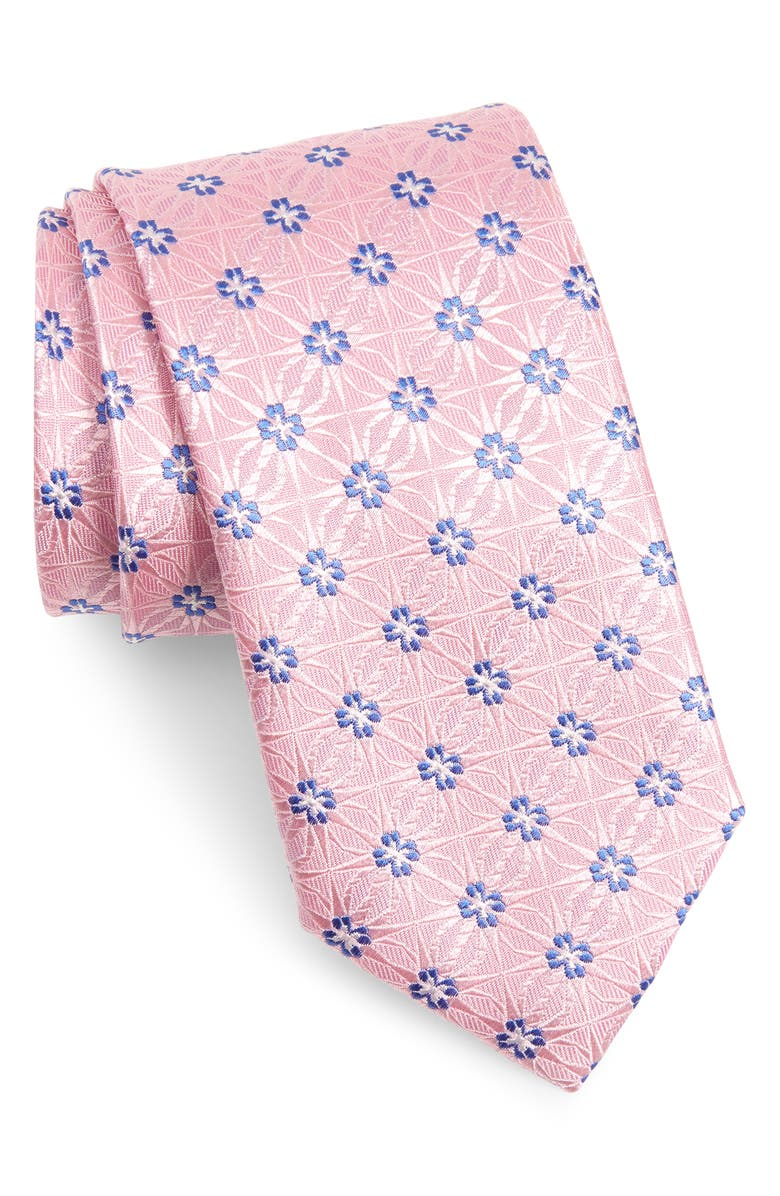CANALI Medallion Silk Tie, Main, color, PINK