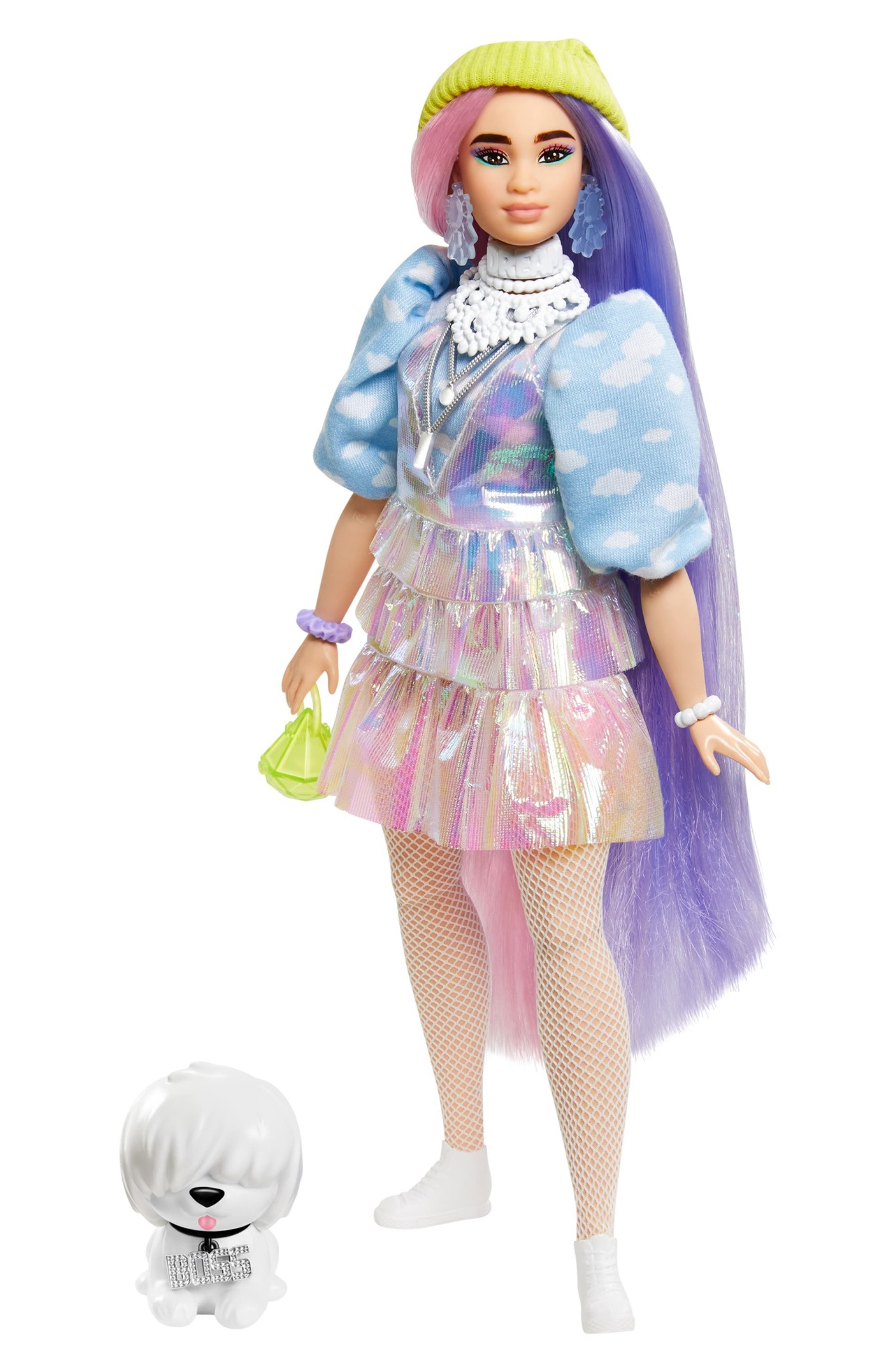 Image of Mattel Barbie Extra Doll #2 in Shimmery Look with Pet Puppy