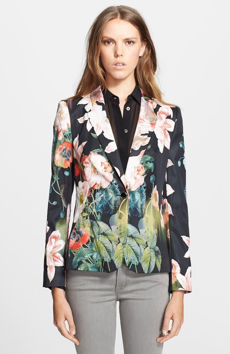 TED BAKER LONDON 'Ohiyo' Print Jacket, Main, color, 001