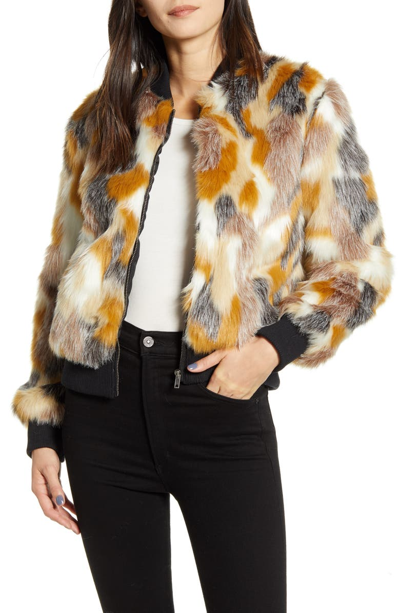 CUPCAKES AND CASHMERE Faux Fur Patchwork Bomber Jacket, Main, color, 600