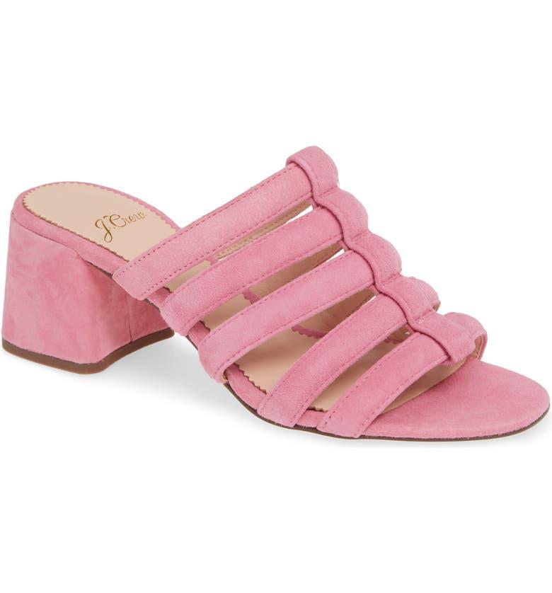 J.CREW Penny Strappy Suede Slide Sandal, Main, color, DOVER PINK SUEDE