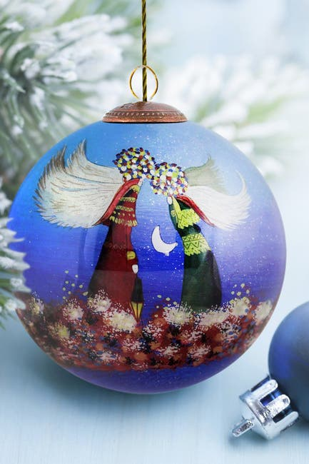 """Image of Overstock Art """"Angels"""" Justyna Kopania Hand Painted Glass Ornament Collection - Set of 6"""