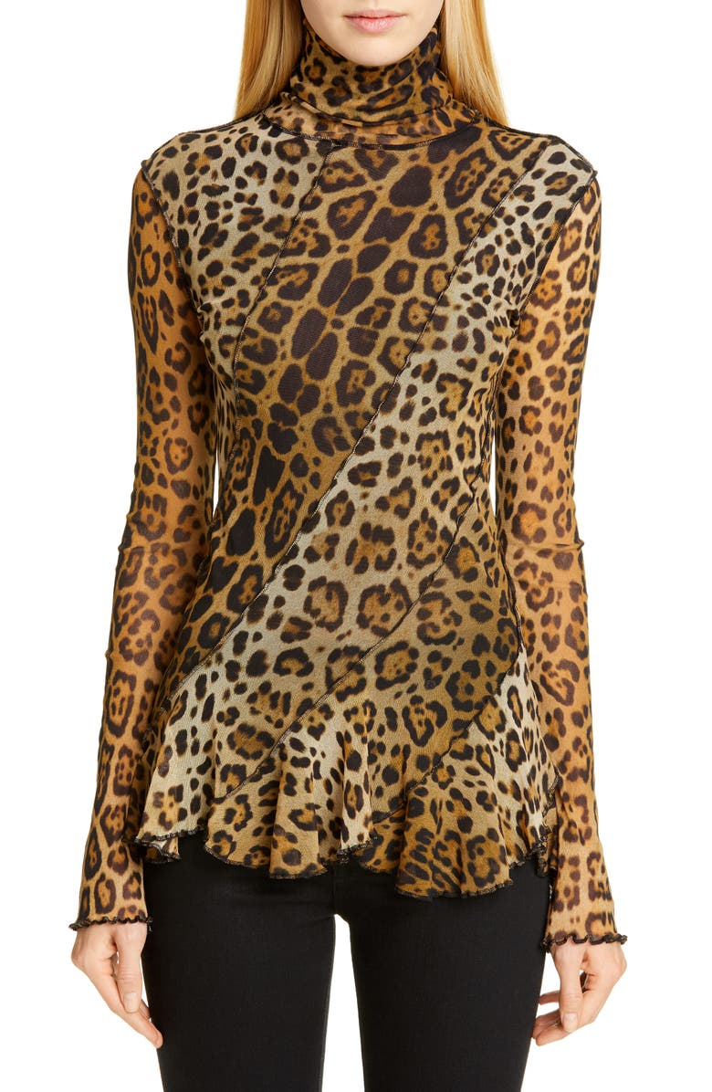 FUZZI Leopard Print Ruffle Turtleneck Top, Main, color, CAMMELLO