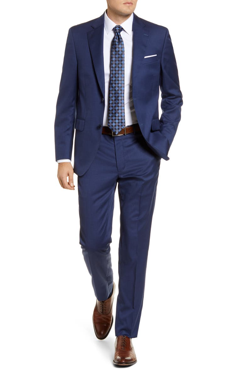 PETER MILLAR Flynn Classic Fit Check Wool Suit, Main, color, BLUE