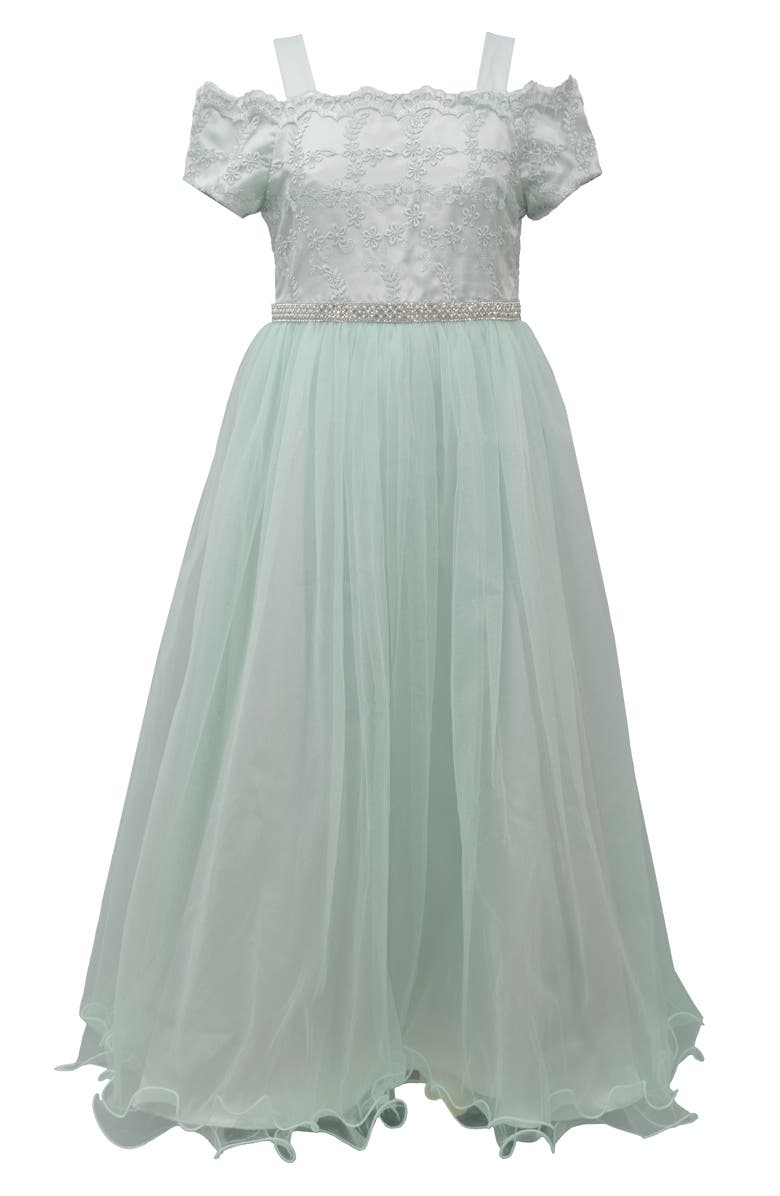 IRIS & IVY Embroidered Cold Shoulder Tulle Gown, Main, color, BLU
