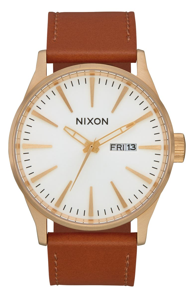 NIXON The Sentry Leather Strap Watch, 42mm, Main, color, BROWN/ WHITE/ GOLD