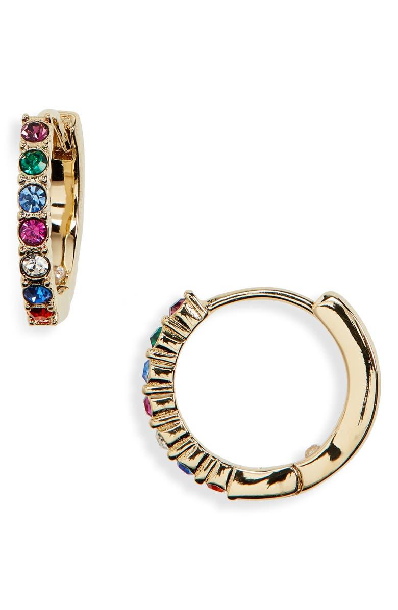 NORDSTROM Pavé Half Stone Huggie Hoop Earrings, Main, color, 000